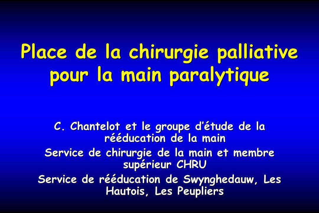 Place de la chirurgie palliative pour la main paralytique C. Chantelot et le groupe détude de la rééducation de la main Service de chirurgie de la mai
