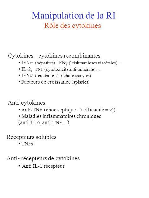 Manipulation de la RI Rôle des cytokines Cytokines - cytokines recombinantes IFN (hépatites) IFN (leishmanioses viscérales)... IL-2, TNF (cytotoxicité