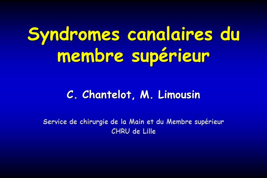 Syndromes canalaires du membre supérieur C. Chantelot, M. Limousin Service de chirurgie de la Main et du Membre supérieur CHRU de Lille