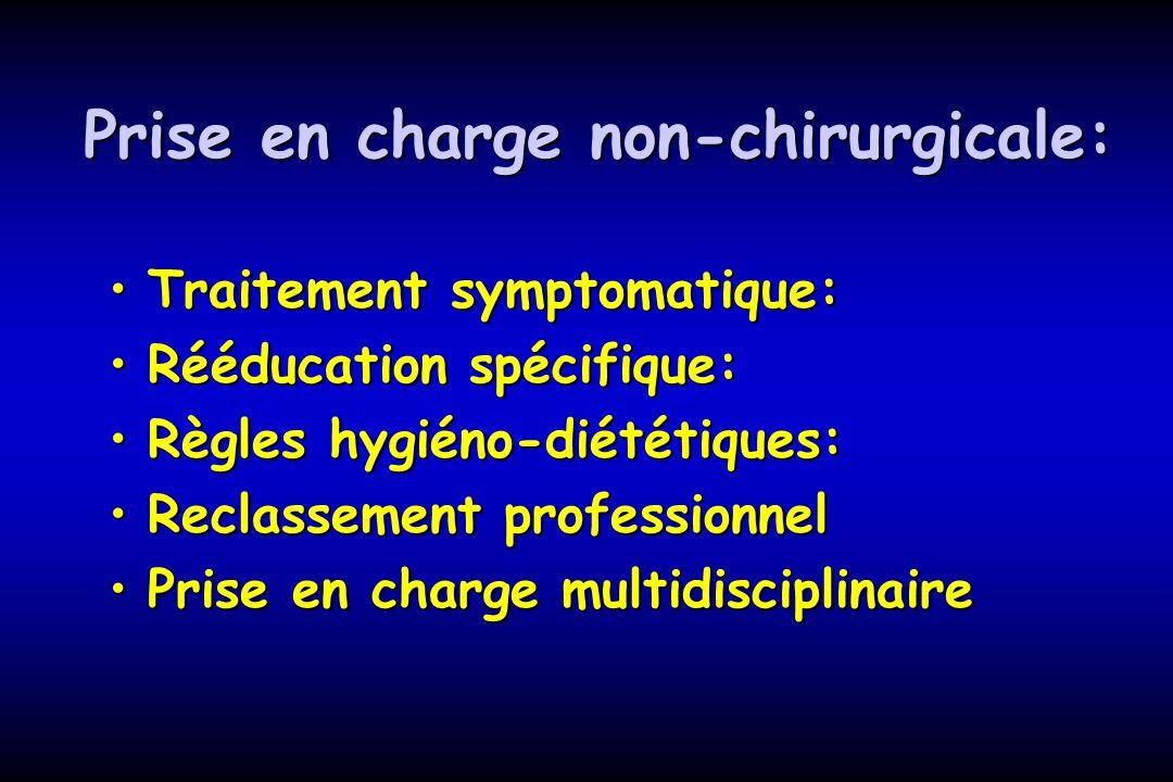 Prise en charge non-chirurgicale: Traitement symptomatique:Traitement symptomatique: Rééducation spécifique:Rééducation spécifique: Règles hygiéno-dié
