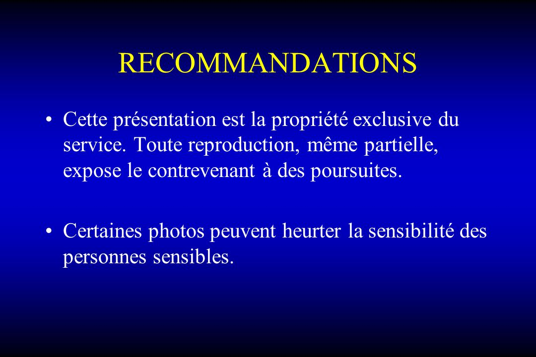 Indications: Non chirurgical:Non chirurgical: –Pas de paralysie motrice et sensitive –Peu symptomatique –Compression < 50% pour lartère Chirurgical:Chirurgical: –Déficit neurologique périphérique –Compression vasculaire > 50%