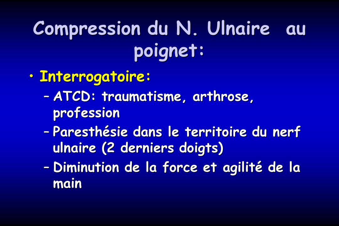 Compression du N. Ulnaire au poignet: Interrogatoire:Interrogatoire: –ATCD: traumatisme, arthrose, profession –Paresthésie dans le territoire du nerf