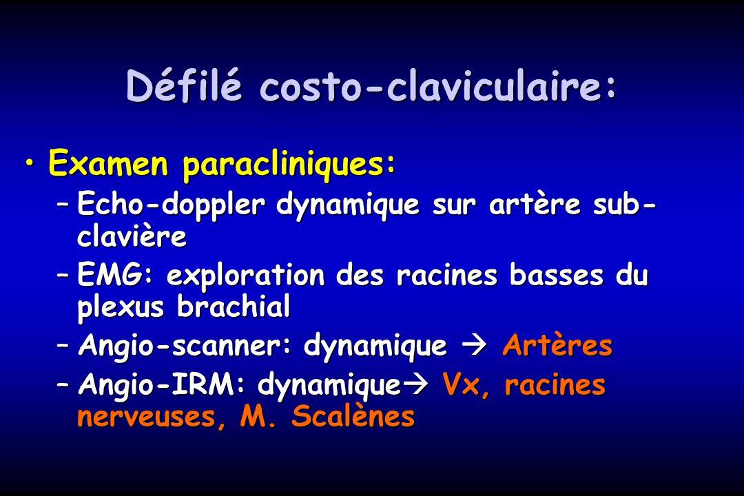 Défilé costo-claviculaire: Examen paracliniques:Examen paracliniques: –Echo-doppler dynamique sur artère sub- clavière –EMG: exploration des racines b