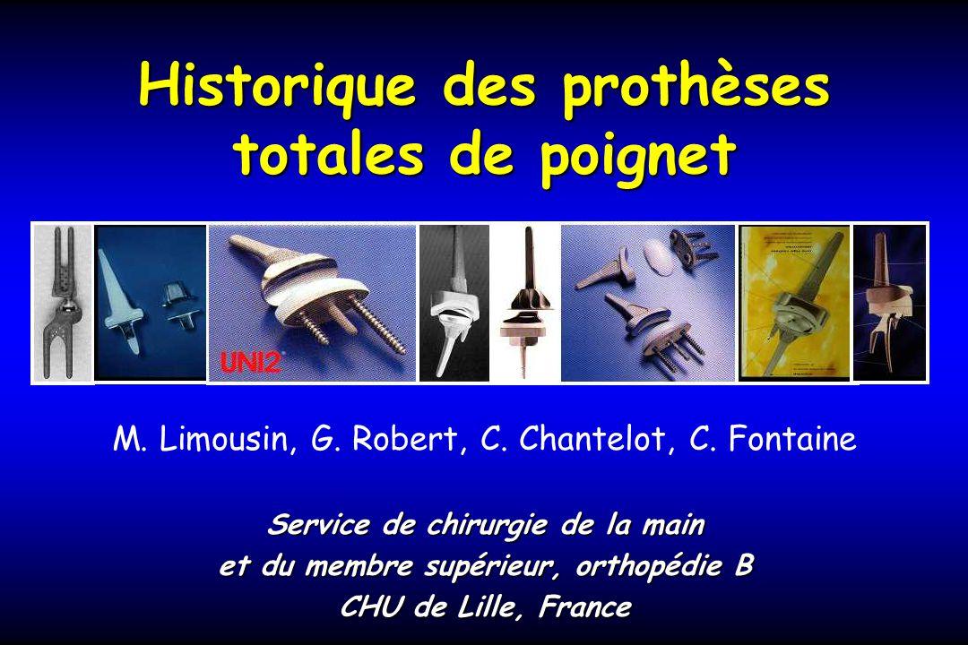 Historique des prothèses totales de poignet M.Limousin, G.