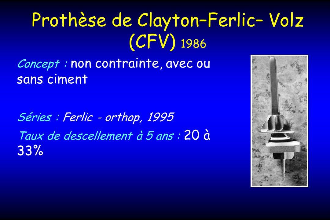 Prothèse de Clayton–Ferlic– Volz (CFV) 1986 Concept : non contrainte, avec ou sans ciment Séries : Ferlic - orthop, 1995 Taux de descellement à 5 ans : 20 à 33%