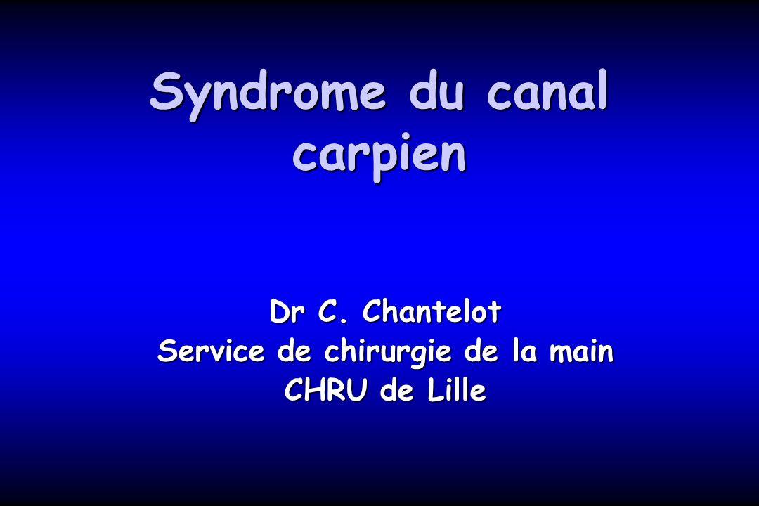 Syndrome du canal carpien Dr C. Chantelot Service de chirurgie de la main CHRU de Lille