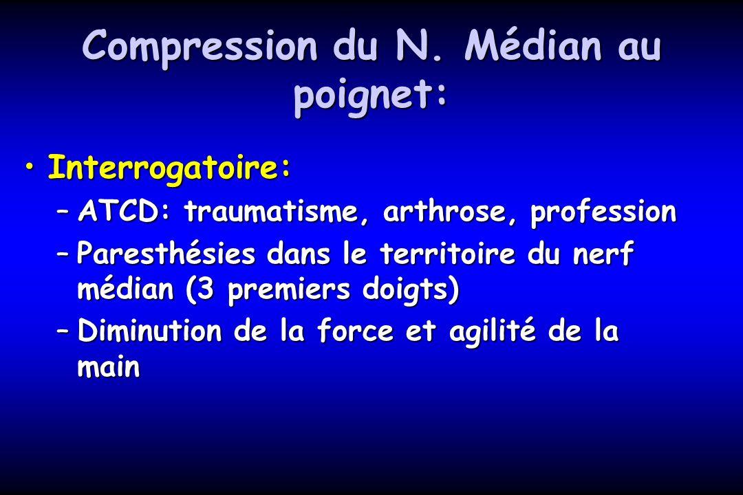 Compression du N. Médian au poignet: Interrogatoire:Interrogatoire: –ATCD: traumatisme, arthrose, profession –Paresthésies dans le territoire du nerf