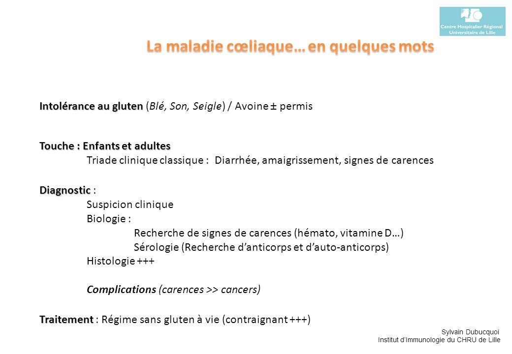 Sylvain Dubucquoi Institut dImmunologie du CHRU de Lille Intolérance au gluten Intolérance au gluten (Blé, Son, Seigle) / Avoine ± permis Touche : Enf