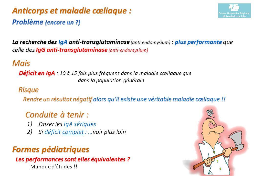 Sylvain Dubucquoi Institut dImmunologie du CHRU de Lille La recherche des IgA anti-transglutaminase (anti-endomysium) : plus performante que celle des