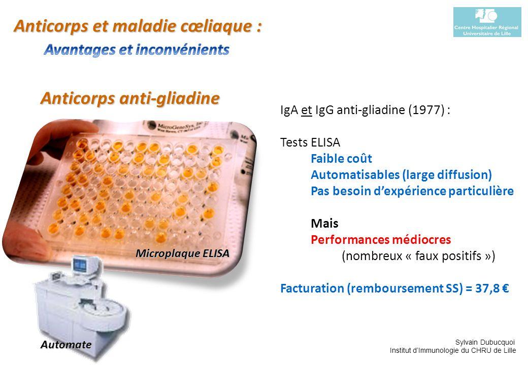 Sylvain Dubucquoi Institut dImmunologie du CHRU de Lille Anticorps anti-gliadine IgA et IgG anti-gliadine (1977) : Tests ELISA Faible coût Automatisab