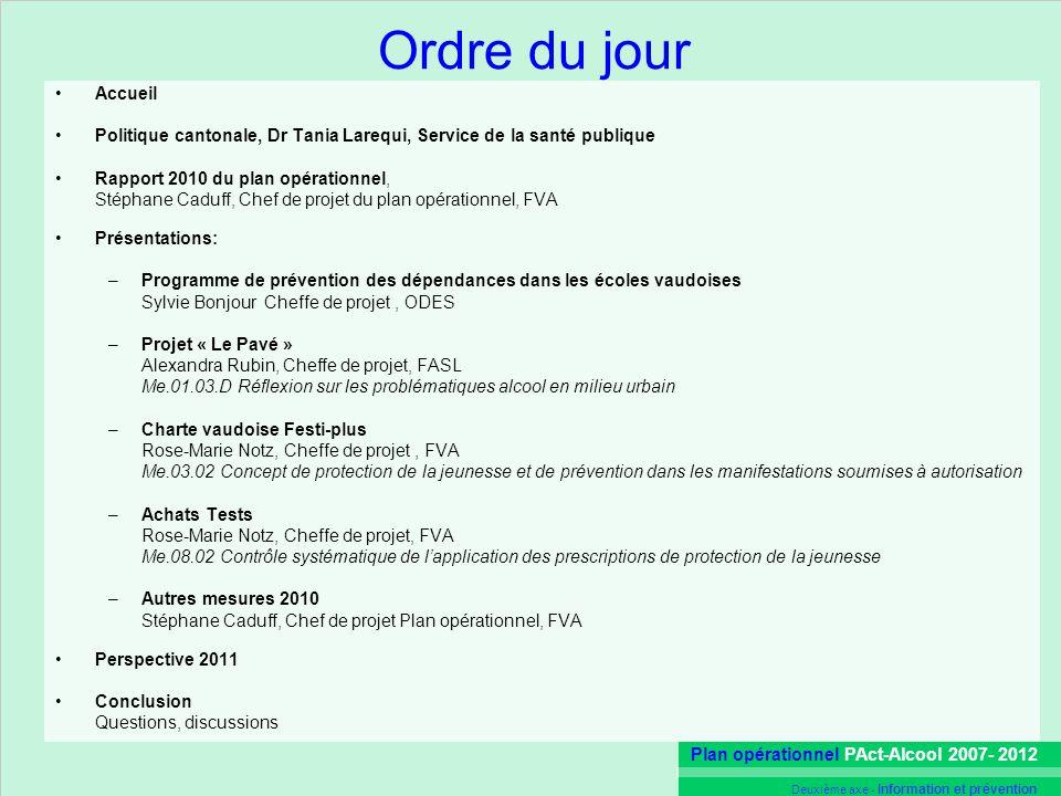 Plan opérationnel PAct-Alcool 2007- 2012 Deuxième axe - Information et prévention Ordre du jour Accueil Politique cantonale, Dr Tania Larequi, Service