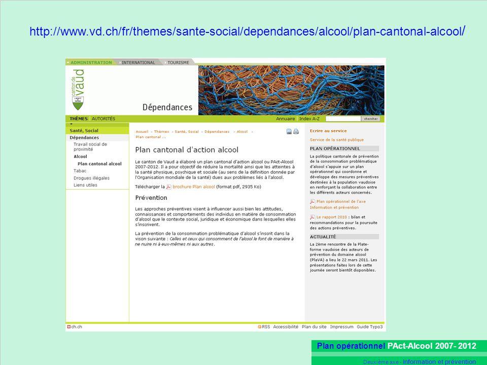 Plan opérationnel PAct-Alcool 2007- 2012 Deuxième axe - Information et prévention http://www.vd.ch/fr/themes/sante-social/dependances/alcool/plan-cant
