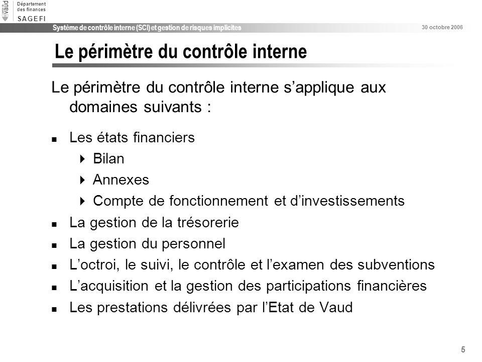 5 Système de contrôle interne (SCI) et gestion de risques implicites 30 octobre 2006 Département des finances S A G E F IS A G E F I Le périmètre du c