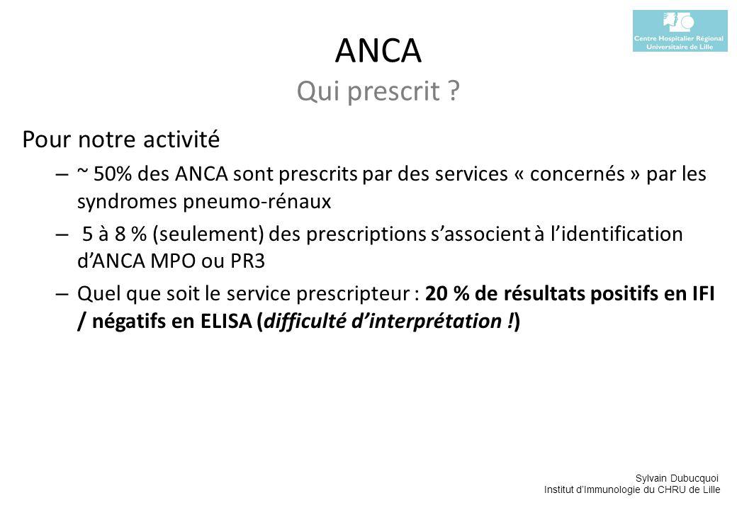 Sylvain Dubucquoi Institut dImmunologie du CHRU de Lille Pour notre activité – ~ 50% des ANCA sont prescrits par des services « concernés » par les sy
