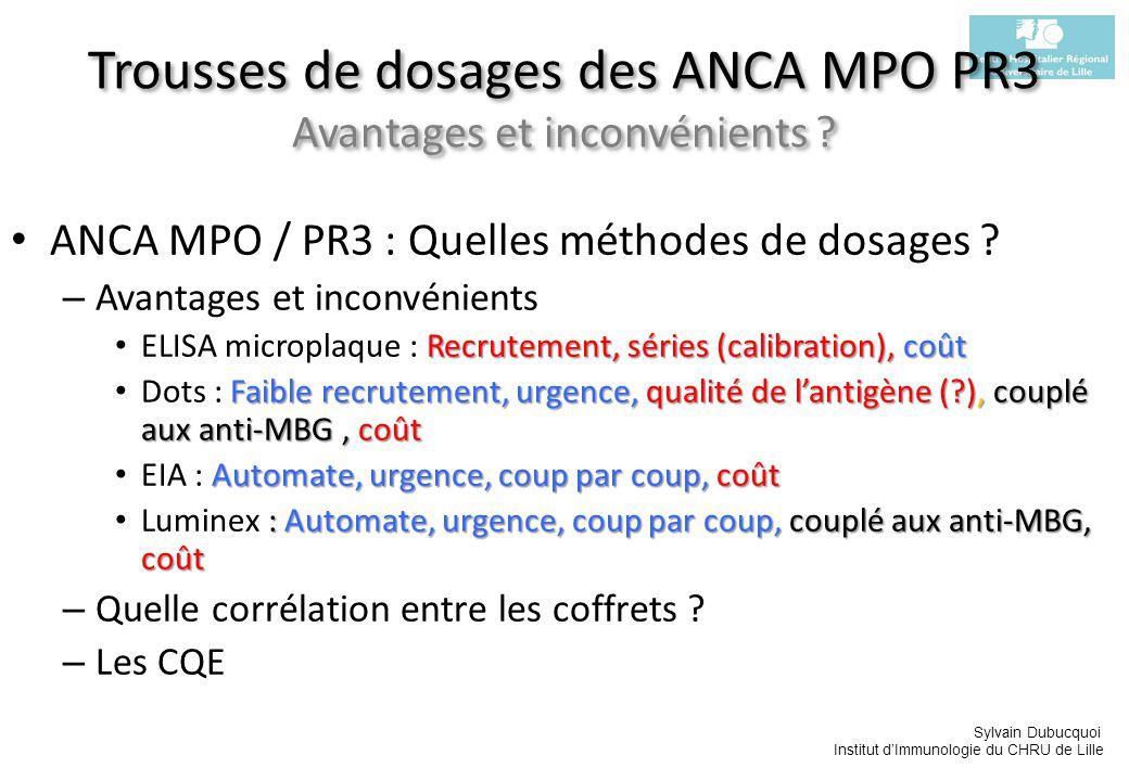 Sylvain Dubucquoi Institut dImmunologie du CHRU de Lille Trousses de dosages des ANCA MPO PR3 Avantages et inconvénients ? ANCA MPO / PR3 : Quelles mé