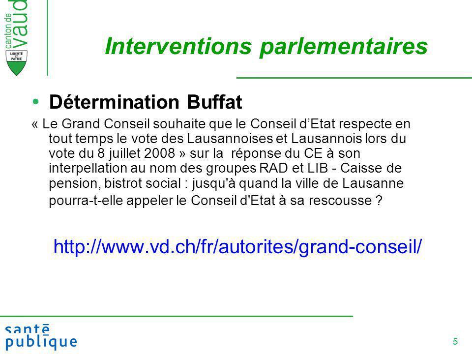5 Interventions parlementaires Détermination Buffat « Le Grand Conseil souhaite que le Conseil dEtat respecte en tout temps le vote des Lausannoises e