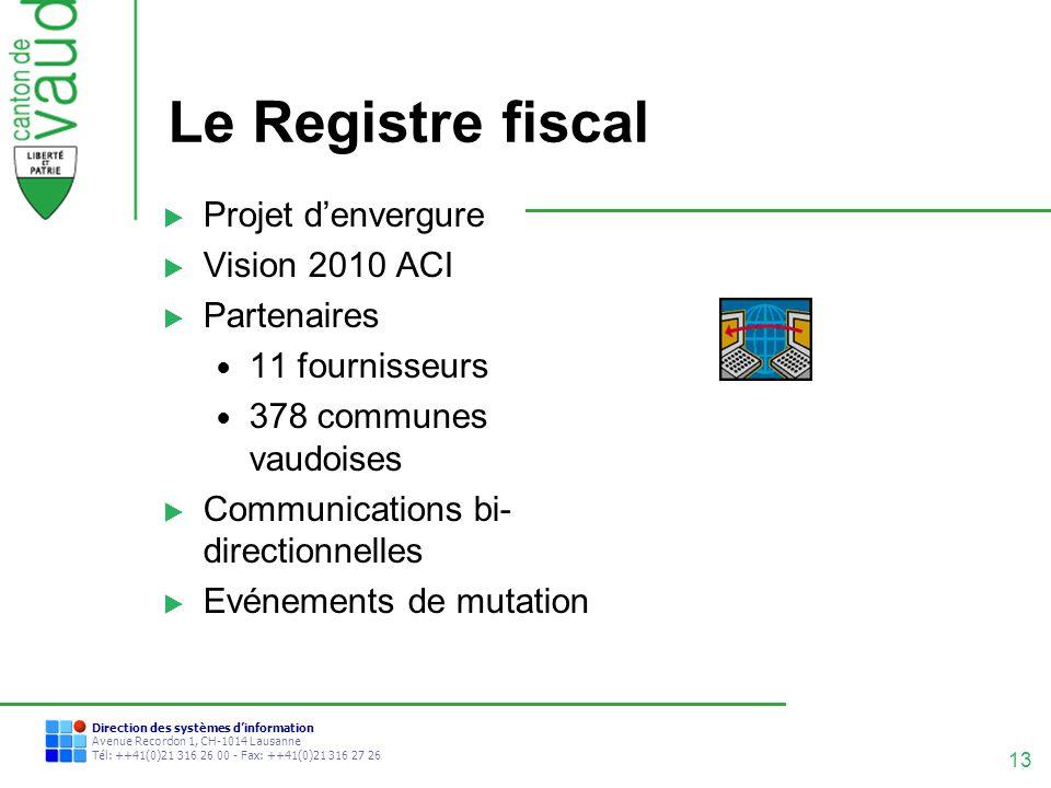 13 Direction des systèmes dinformation Avenue Recordon 1, CH-1014 Lausanne Tél: ++41(0)21 316 26 00 - Fax: ++41(0)21 316 27 26 Le Registre fiscal Proj