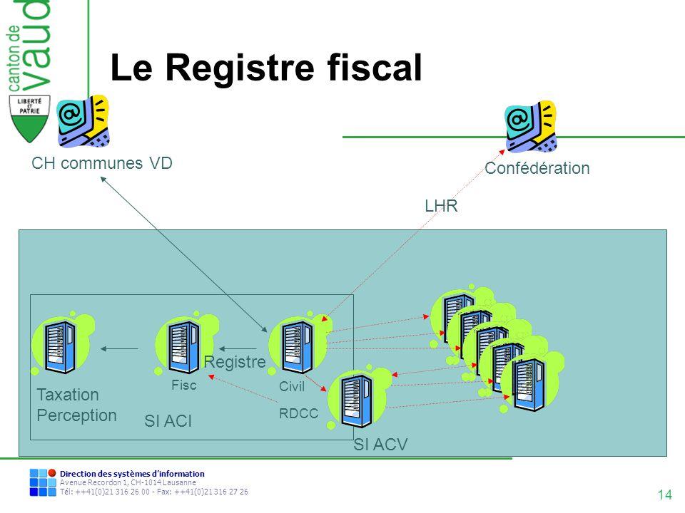 14 Direction des systèmes dinformation Avenue Recordon 1, CH-1014 Lausanne Tél: ++41(0)21 316 26 00 - Fax: ++41(0)21 316 27 26 Le Registre fiscal CH c