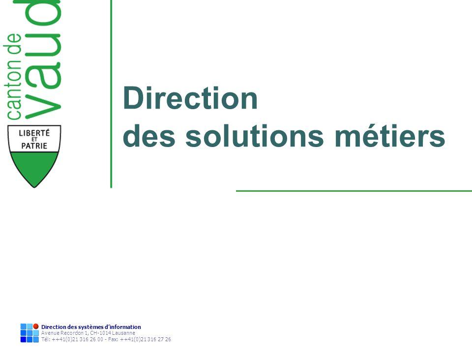 33 Direction des systèmes dinformation Avenue Recordon 1, CH-1014 Lausanne Tél: ++41(0)21 316 26 00 - Fax: ++41(0)21 316 27 26 Technologies - Composants - Comptabilité: progiciel comptable (client / serveur) - Gestion de dossiers: application web: développement spécifique en « open sources », BEA Weblogic - Gestion de documents: Jakarta Slide - Autres composants: - Moteur de fusion (OJV): publipostage, formules - Reporting applicatif (Jasper), statistique (Cognos), comptable (Crystal Report) - LDAP (contrôle des accès) - Digitalisation de documents: Java
