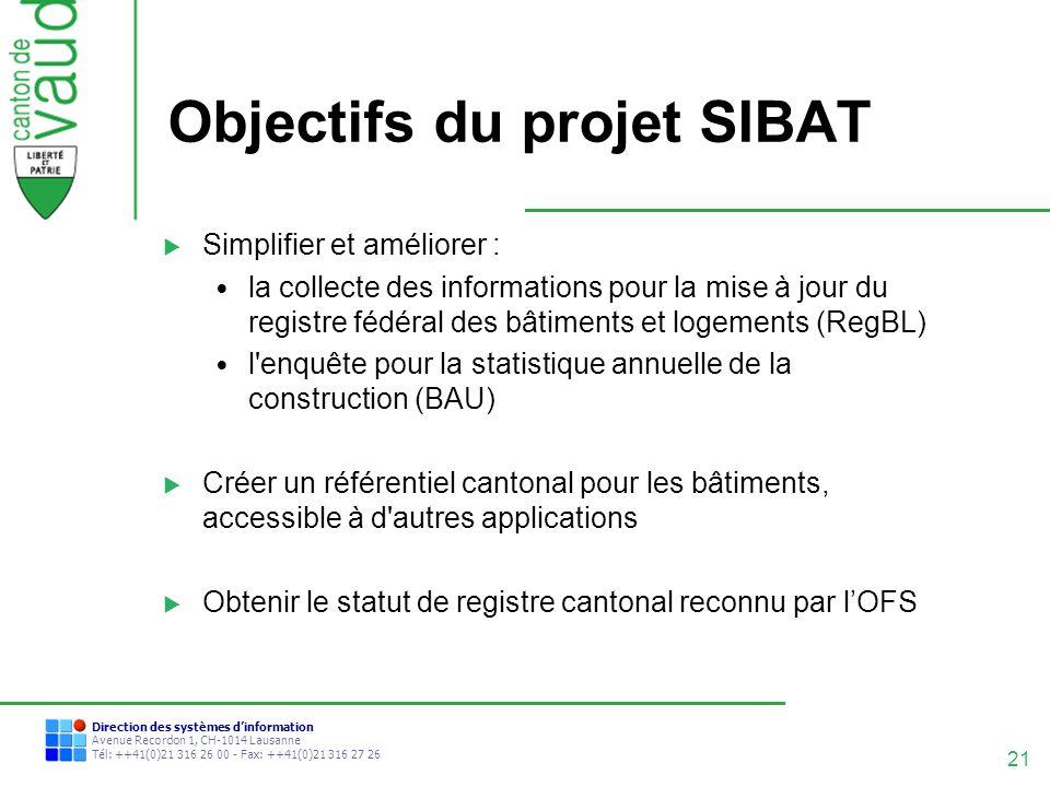 21 Direction des systèmes dinformation Avenue Recordon 1, CH-1014 Lausanne Tél: ++41(0)21 316 26 00 - Fax: ++41(0)21 316 27 26 Objectifs du projet SIB