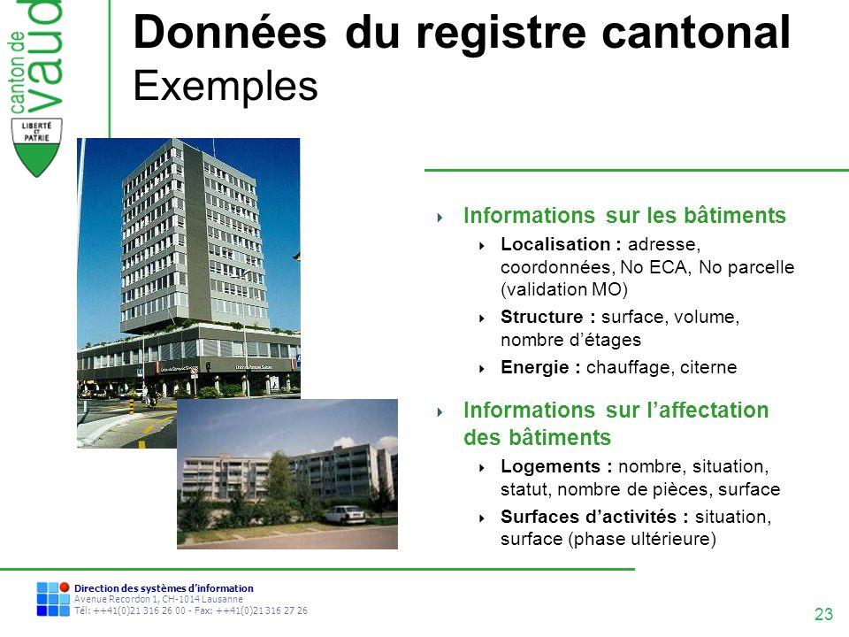 23 Direction des systèmes dinformation Avenue Recordon 1, CH-1014 Lausanne Tél: ++41(0)21 316 26 00 - Fax: ++41(0)21 316 27 26 Données du registre can