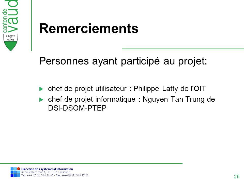 25 Direction des systèmes dinformation Avenue Recordon 1, CH-1014 Lausanne Tél: ++41(0)21 316 26 00 - Fax: ++41(0)21 316 27 26 Remerciements Personnes