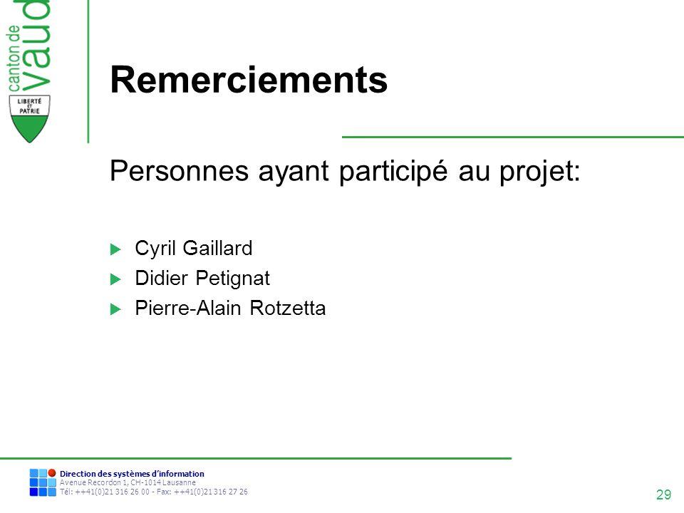 29 Direction des systèmes dinformation Avenue Recordon 1, CH-1014 Lausanne Tél: ++41(0)21 316 26 00 - Fax: ++41(0)21 316 27 26 Remerciements Personnes