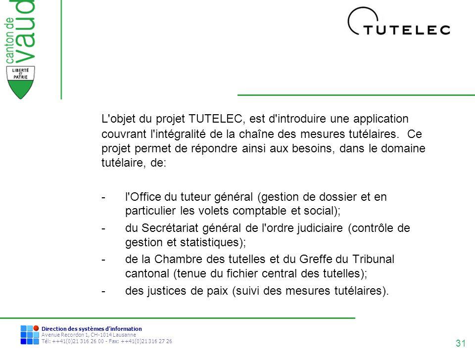 31 Direction des systèmes dinformation Avenue Recordon 1, CH-1014 Lausanne Tél: ++41(0)21 316 26 00 - Fax: ++41(0)21 316 27 26 L'objet du projet TUTEL