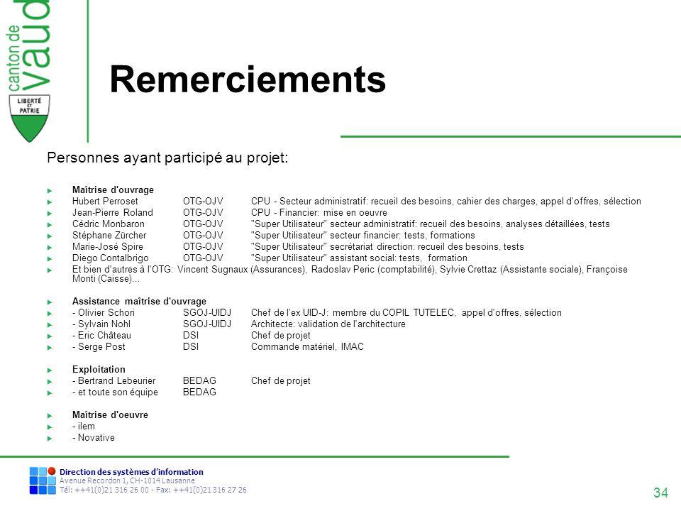 34 Direction des systèmes dinformation Avenue Recordon 1, CH-1014 Lausanne Tél: ++41(0)21 316 26 00 - Fax: ++41(0)21 316 27 26 Remerciements Personnes