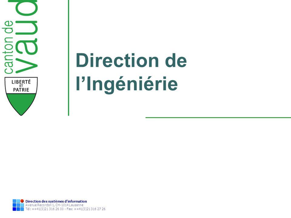 Direction des systèmes dinformation Avenue Recordon 1, CH-1014 Lausanne Tél: ++41(0)21 316 26 00 - Fax: ++41(0)21 316 27 26 Direction de lIngéniérie