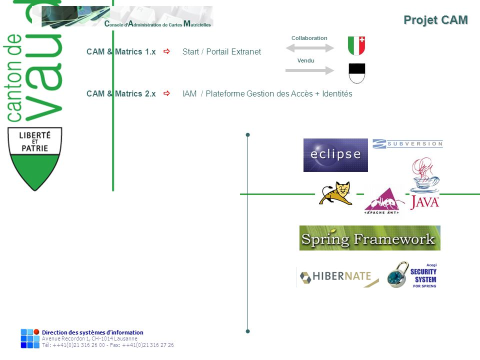 Direction des systèmes dinformation Avenue Recordon 1, CH-1014 Lausanne Tél: ++41(0)21 316 26 00 - Fax: ++41(0)21 316 27 26 CAM & Matrics 1.x Start /