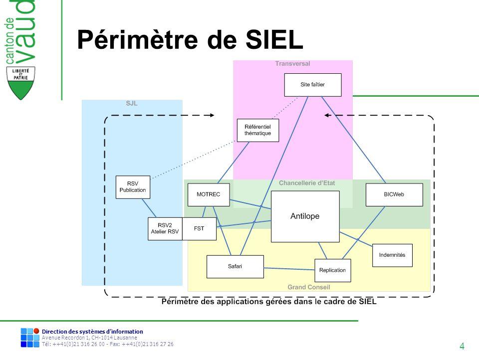 5 Direction des systèmes dinformation Avenue Recordon 1, CH-1014 Lausanne Tél: ++41(0)21 316 26 00 - Fax: ++41(0)21 316 27 26 Les acteurs clés de la mise en oeuvre de SIEL La mise en œuvre de SIEL est dabord une décision des Chefs de services concernés suite aux problématiques rencontrées dans le cadre du projet FST: Les CS de CHANC, SG-DIRE, SG-GC, SJL et DSI La mise en œuvre a surtout été concrétisée par une étroite collaboration entre: Côté métier: Sandra Genoud (CHANC), Yves Robert (SG-GC) et Grégoire Thévoz (SJL).