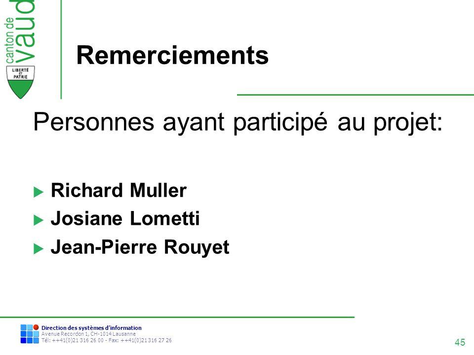 45 Direction des systèmes dinformation Avenue Recordon 1, CH-1014 Lausanne Tél: ++41(0)21 316 26 00 - Fax: ++41(0)21 316 27 26 Remerciements Personnes
