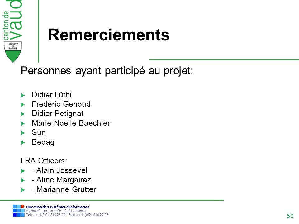 50 Direction des systèmes dinformation Avenue Recordon 1, CH-1014 Lausanne Tél: ++41(0)21 316 26 00 - Fax: ++41(0)21 316 27 26 Remerciements Personnes