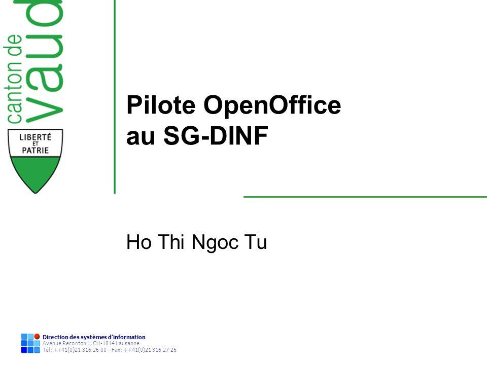 Direction des systèmes dinformation Avenue Recordon 1, CH-1014 Lausanne Tél: ++41(0)21 316 26 00 - Fax: ++41(0)21 316 27 26 Pilote OpenOffice au SG-DI