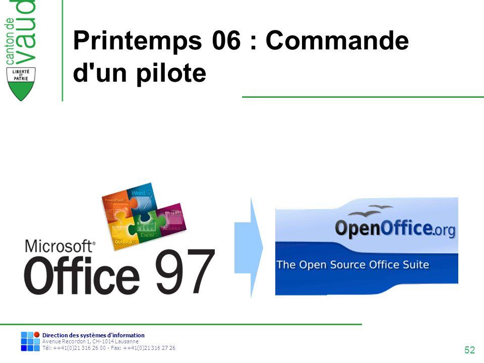 52 Direction des systèmes dinformation Avenue Recordon 1, CH-1014 Lausanne Tél: ++41(0)21 316 26 00 - Fax: ++41(0)21 316 27 26 Printemps 06 : Commande