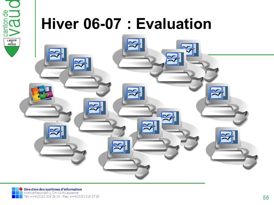 56 Direction des systèmes dinformation Avenue Recordon 1, CH-1014 Lausanne Tél: ++41(0)21 316 26 00 - Fax: ++41(0)21 316 27 26 Hiver 06-07 : Evaluatio
