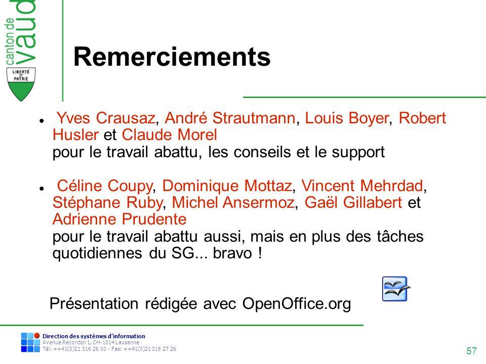 57 Direction des systèmes dinformation Avenue Recordon 1, CH-1014 Lausanne Tél: ++41(0)21 316 26 00 - Fax: ++41(0)21 316 27 26 Remerciements Yves Crau