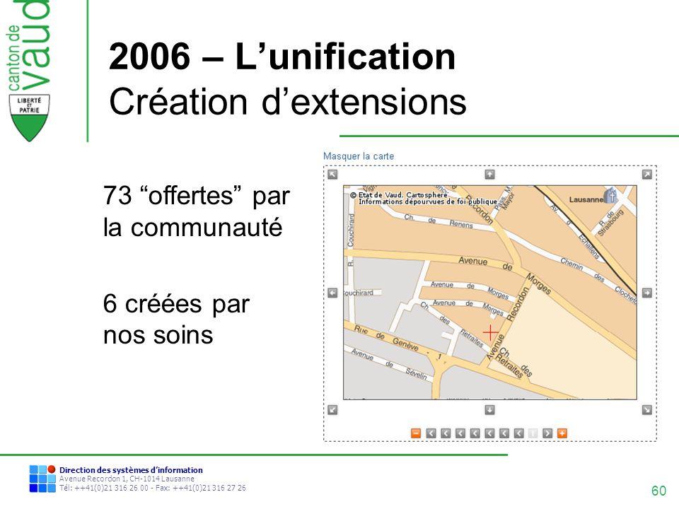 60 Direction des systèmes dinformation Avenue Recordon 1, CH-1014 Lausanne Tél: ++41(0)21 316 26 00 - Fax: ++41(0)21 316 27 26 2006 – Lunification Cré