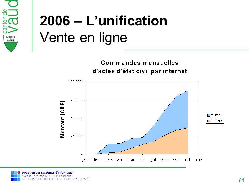 61 Direction des systèmes dinformation Avenue Recordon 1, CH-1014 Lausanne Tél: ++41(0)21 316 26 00 - Fax: ++41(0)21 316 27 26 2006 – Lunification Ven