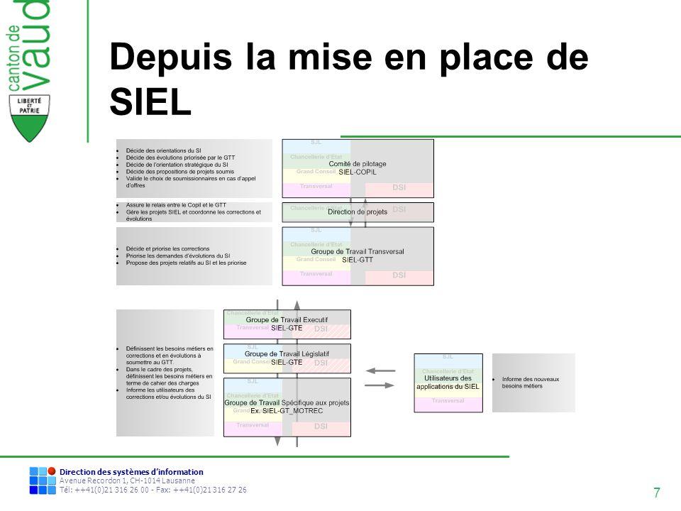 8 Direction des systèmes dinformation Avenue Recordon 1, CH-1014 Lausanne Tél: ++41(0)21 316 26 00 - Fax: ++41(0)21 316 27 26 Premiers bénéfices de SIEL Meilleure visibilité du SI par les services concernés.