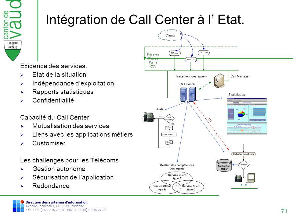 71 Direction des systèmes dinformation Avenue Recordon 1, CH-1014 Lausanne Tél: ++41(0)21 316 26 00 - Fax: ++41(0)21 316 27 26 Intégration de Call Cen