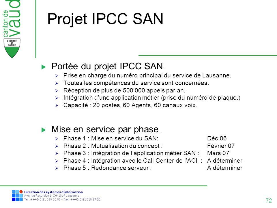 72 Direction des systèmes dinformation Avenue Recordon 1, CH-1014 Lausanne Tél: ++41(0)21 316 26 00 - Fax: ++41(0)21 316 27 26 Projet IPCC SAN Portée