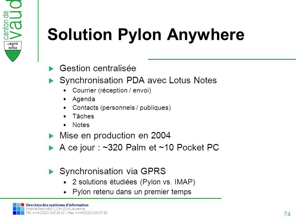 74 Direction des systèmes dinformation Avenue Recordon 1, CH-1014 Lausanne Tél: ++41(0)21 316 26 00 - Fax: ++41(0)21 316 27 26 Solution Pylon Anywhere