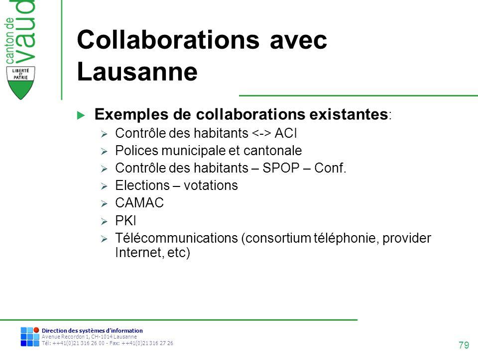 79 Direction des systèmes dinformation Avenue Recordon 1, CH-1014 Lausanne Tél: ++41(0)21 316 26 00 - Fax: ++41(0)21 316 27 26 Collaborations avec Lau