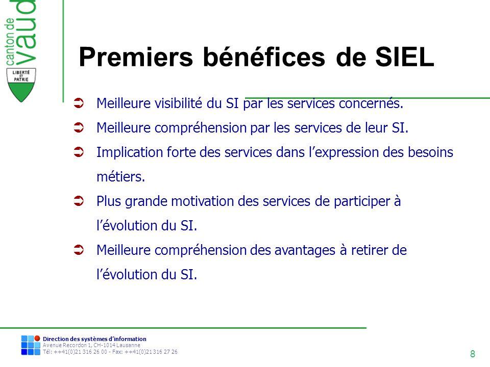 8 Direction des systèmes dinformation Avenue Recordon 1, CH-1014 Lausanne Tél: ++41(0)21 316 26 00 - Fax: ++41(0)21 316 27 26 Premiers bénéfices de SI