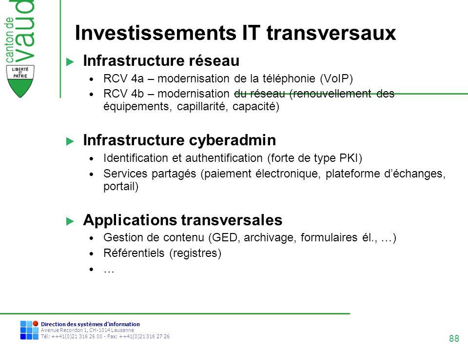 88 Direction des systèmes dinformation Avenue Recordon 1, CH-1014 Lausanne Tél: ++41(0)21 316 26 00 - Fax: ++41(0)21 316 27 26 Investissements IT tran