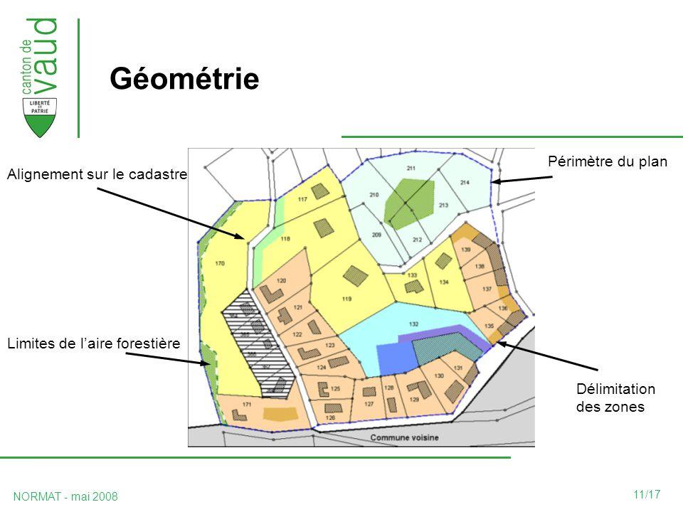 11/17 NORMAT - mai 2008 Géométrie Périmètre du plan Alignement sur le cadastre Délimitation des zones Limites de laire forestière