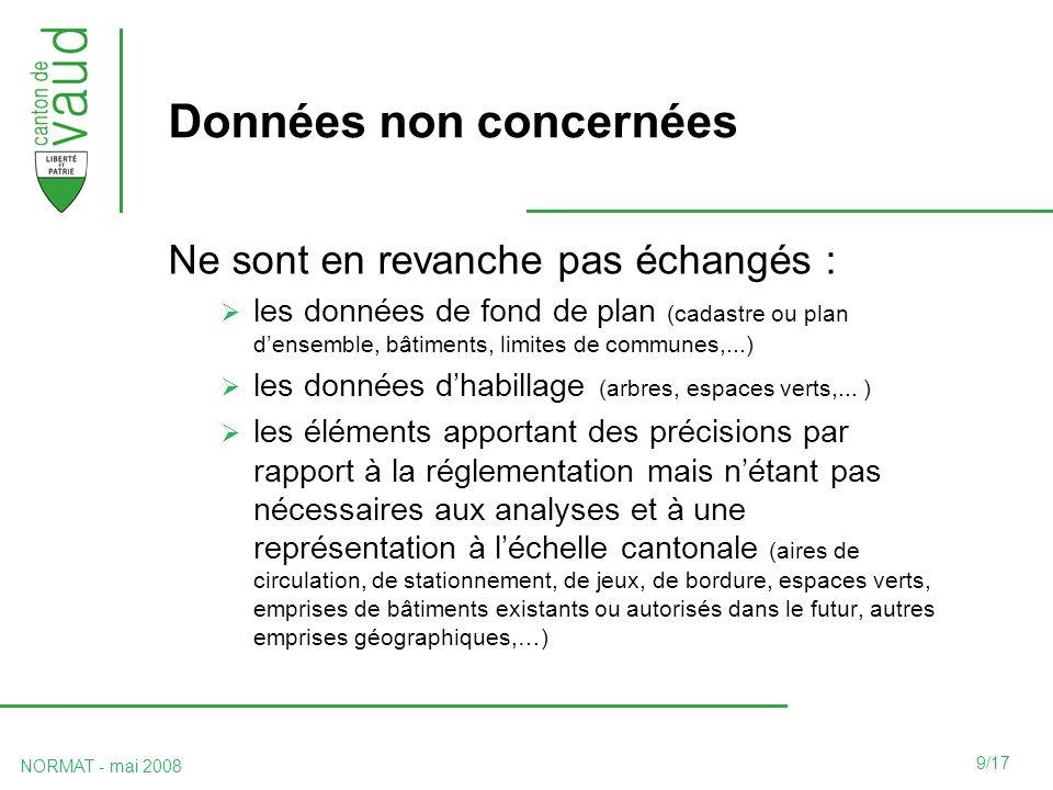 9/17 NORMAT - mai 2008 Données non concernées Ne sont en revanche pas échangés : les données de fond de plan (cadastre ou plan densemble, bâtiments, limites de communes,...) les données dhabillage (arbres, espaces verts,...