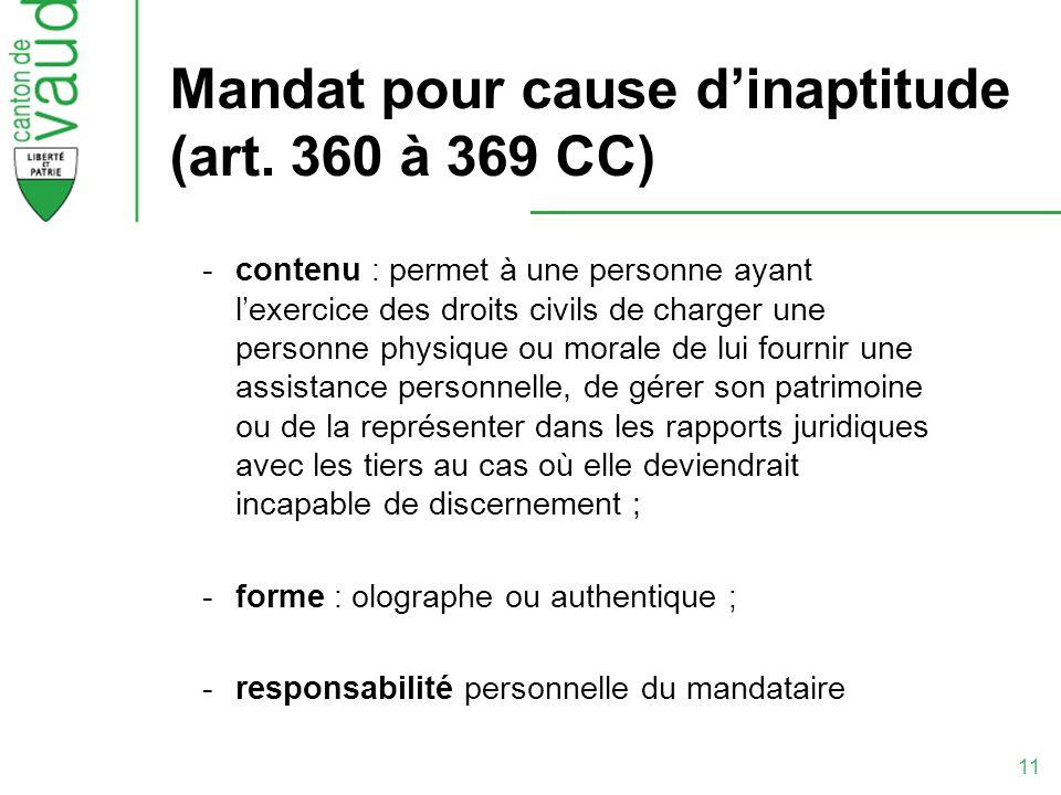 11 Mandat pour cause dinaptitude (art. 360 à 369 CC) -contenu : permet à une personne ayant lexercice des droits civils de charger une personne physiq